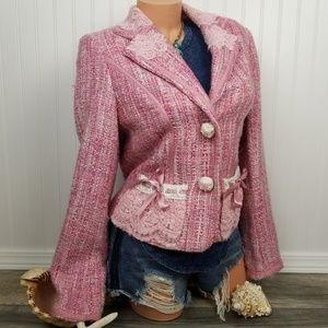 Paola Poggi Italy embellished pink tweed blazer 42